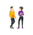 cartoon street clothes characters couple concept vector image