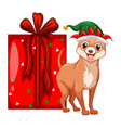 Christmas theme with little dog and present box vector image vector image