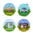 City buildings icon set in flat style vector image