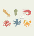 collection icons sea inhabitants in flat vector image vector image