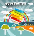 Colorful Abstract Egg on Retro Spring Landscape vector image vector image