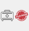 contour medical baggage icon and scratched vector image vector image