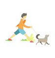 dog on leash with owner boy walking pet vector image vector image