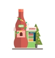 Drinks Shop Front in Christmas vector image
