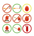 Fire fighters icons no smoking vector image vector image