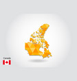 geometric polygonal style map of canada low poly vector image