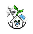 green eco house funny cartoon clean energy concept vector image vector image