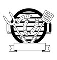 grill barbecue sausages fork and spatula vector image