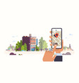 hand holding smartphone hotel booking concept vector image