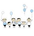 Happy birthday big family children newborn baby vector image vector image