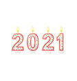 happy new year lighted candles number isolated vector image vector image