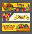 harvest festival banners autumn with vector image vector image
