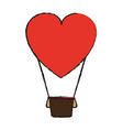 heart shape hot air balloon love valentines day vector image