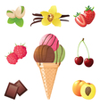 ice cream cone and different flavors icons vector image