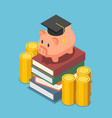 isometric piggy bank with graduation cap on the vector image vector image