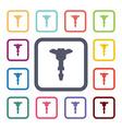 jackhammer flat icons set vector image vector image