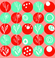 joyful pattern of red and green circles on coral vector image
