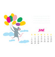 june calendar page with cute rat in travel vector image