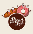 kawaii bread fresh donut croissant cartoon food vector image vector image