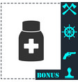 medicine pill bottle icon flat vector image