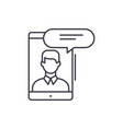 mobile conversation line icon concept mobile vector image vector image