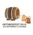 oktoberfest concept featuring two beer bakery and vector image