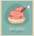 piece of cake Happy Birthday card sweet cupcakes vector image vector image