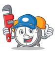 plumber alarm clock mascot cartoon vector image