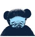 portrait a bear wearing medical mask vector image