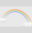 realistic rainbow icon rainbow with clouds vector image