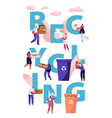 recycling concept people throw garbage into vector image vector image
