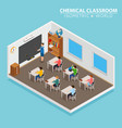 school and learning isometric concept with teacher vector image vector image