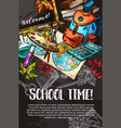 school supplies chalk sketch poster on blackboard vector image vector image