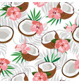 seamless pattern coconut piece and palm leaves vector image