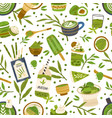 seamless pattern with green matcha powder food vector image vector image