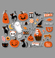 set halloweeen stickers badges scrapbooking vector image