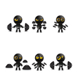 Set of cartoon characters emoticon with dumbbells vector image vector image