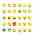 Set of cute smiley emoticons emoji flat design vector