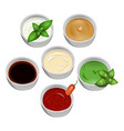 set of tasty fresh sauce fish and meat on a white vector image vector image