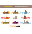 southeast asia countries landmarks with text or vector image vector image