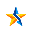 star 3D technology arrow logo vector image vector image