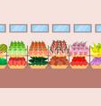 super market shelves fresh fruits vegetables vector image