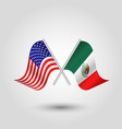 two crossed american and mexican flags vector image vector image