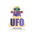 ufo logo original design badge with alien vector image vector image