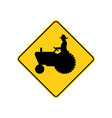 usa traffic road signs farm vehicle ahead or vector image vector image