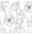 Vintage Black White Flowers Drawing vector image vector image