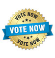 vote now 3d gold badge with blue ribbon vector image vector image
