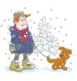 winter walk with a dog vector image