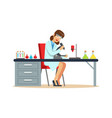 woman chemist working with microscope and testing vector image vector image