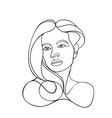 woman head lineart one line vector image